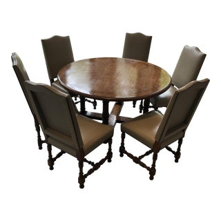 Contemporary Walnut Dining Table & 6 Leather Dining Chairs For Sale