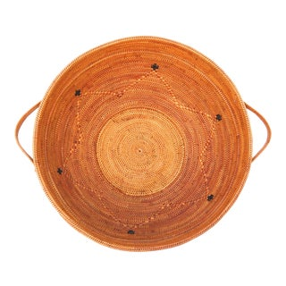Round Fruit Vegetable Handmade Basket With Handles For Sale