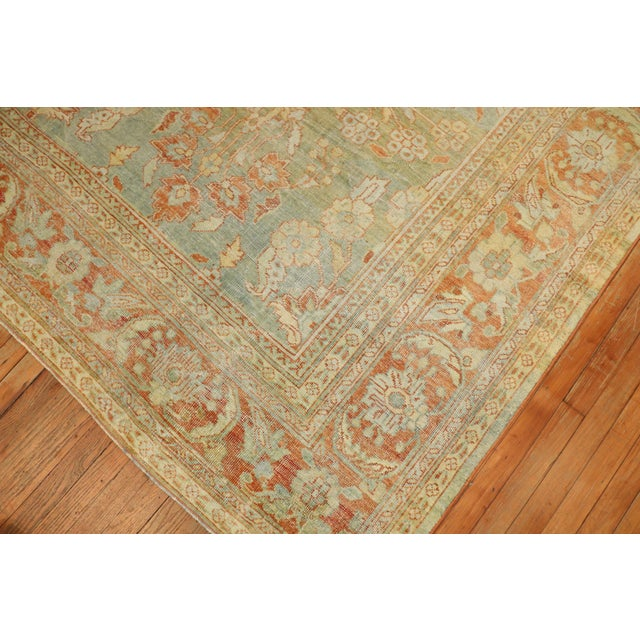 Late 19th Century Pale Green Terracotta Antique Rug, 9'1'' X 12'7'' For Sale - Image 5 of 13