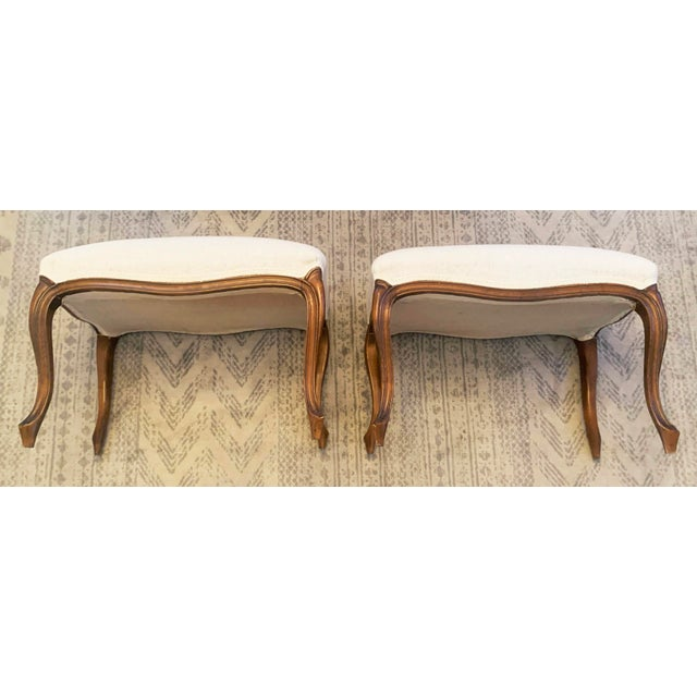 Antique Louis XV Style Walnut Benches Footstools Upholstered in Off-White Linen Fabric - a Pair For Sale - Image 11 of 13