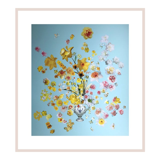 """Marcy Cook """"Vase of Daffodils"""" Original Fine Art Collage For Sale"""