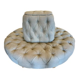 Custom Tufted Upholstered Banquette Pouf For Sale
