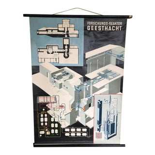 1980s German Classroom Science Chart of Nuclear Power Plant For Sale