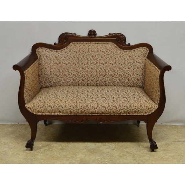 Georgian Antique Mahogany 3pc Parlor Set : Settee , Arm Chair , Chair For Sale - Image 3 of 11