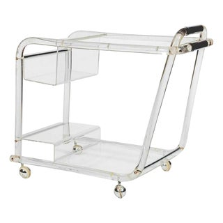 1970s Mid-Century Modern Lucite and Chrome Modern Tubular Bar Cart For Sale
