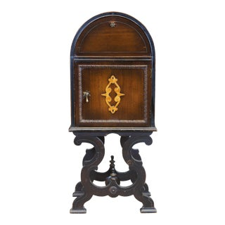 Antique Jacobean Leather & Walnut Tobacco Humidor Cabinet For Sale
