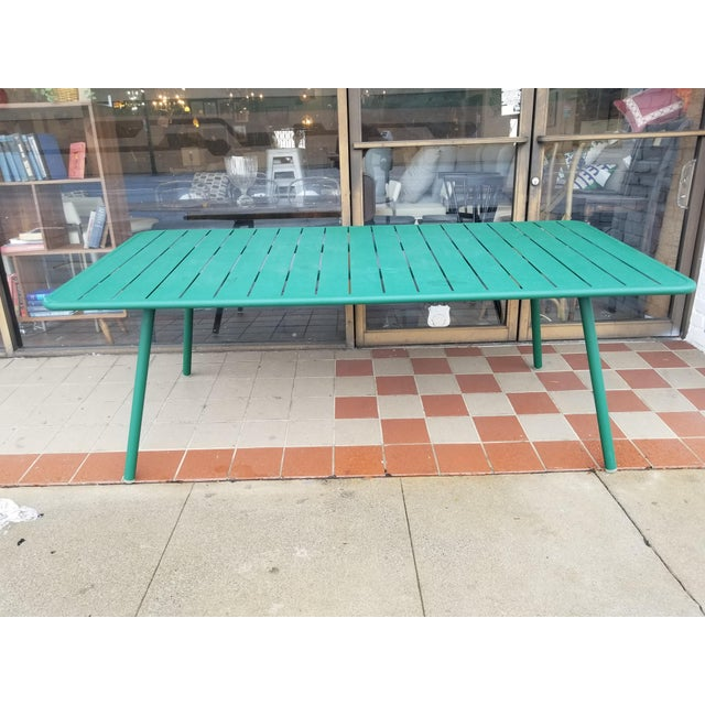 Contemporary Fermob Luxembourg Rectangular Green Metal Patio Table