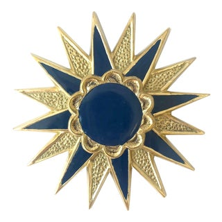 Addison Weeks Michelle Nussbaumer Large Star Backplate & Enamel Knob, Brass & Navy For Sale