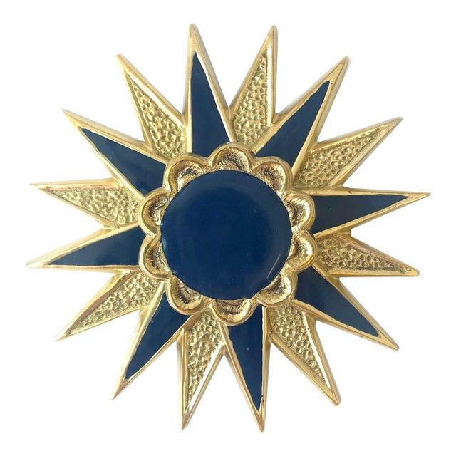 Addison Weeks Michelle Nussbaumer Large Star Backplate & Enamel Knob, Brass & Navy For Sale