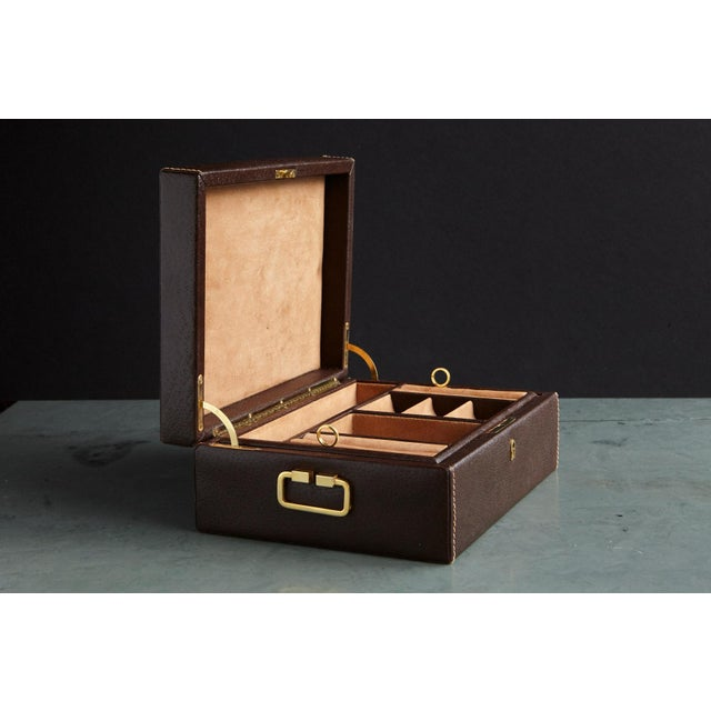 Italian Mark Cross Leather Brown Leather Jewelry Box From the Collection of Ann Turkel For Sale - Image 3 of 13