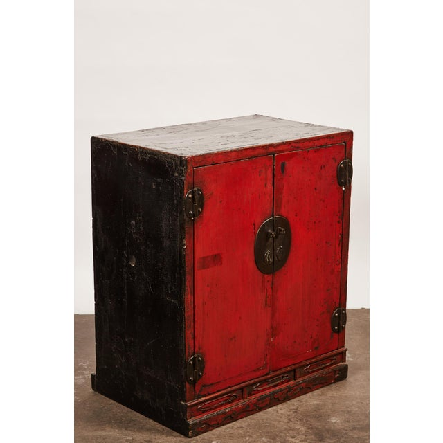 Red 18th Century Chinese Pair of Two Door Cabinets For Sale - Image 8 of 10