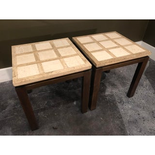 1960s Mid-Century Modern Harvey Probber Travertine Walnut Side Tables - a Pair Preview