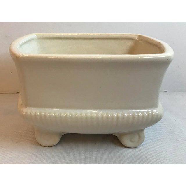 Mid-Century Modern Vintage Mid Century Cream Ceramic Planter For Sale - Image 3 of 8