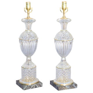 Pair of Glass Urn-Shaped Lamps For Sale