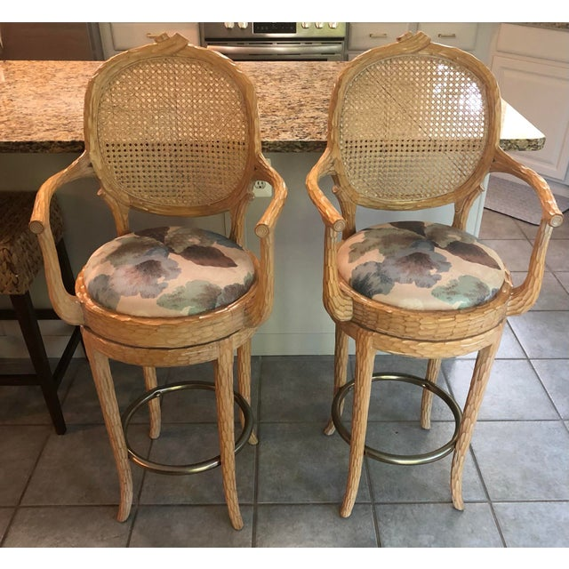 Vintage Faux Bois Cane Back Whitewash Natural Wood Stools With Arms and Brass Footrests - Set of 4 For Sale - Image 4 of 11
