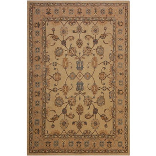 Traditional Semi-Antique Distressed Low-Pile Gala Beige/Blue Wool Rug - 8'0 X 10'2 For Sale