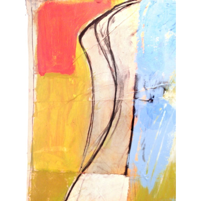 Abstract Large Blue Vase Painting - Mixed Media Collage For Sale - Image 3 of 6