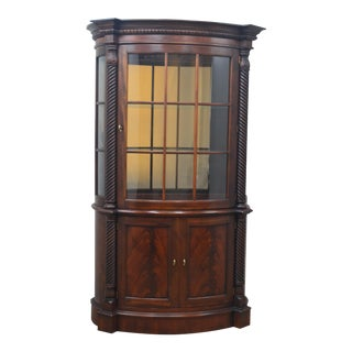 Henredon Mahogany China Display Cabinet - 2 Pieces For Sale