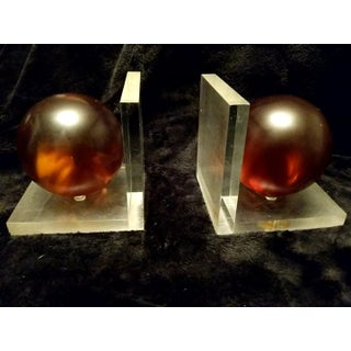 Art Deco Lucite Bookends With Orange Orbs Balls Bookends - a Pair Preview