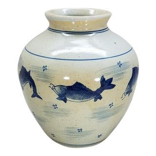 Chinoiserie Glazed Pottery Vase For Sale