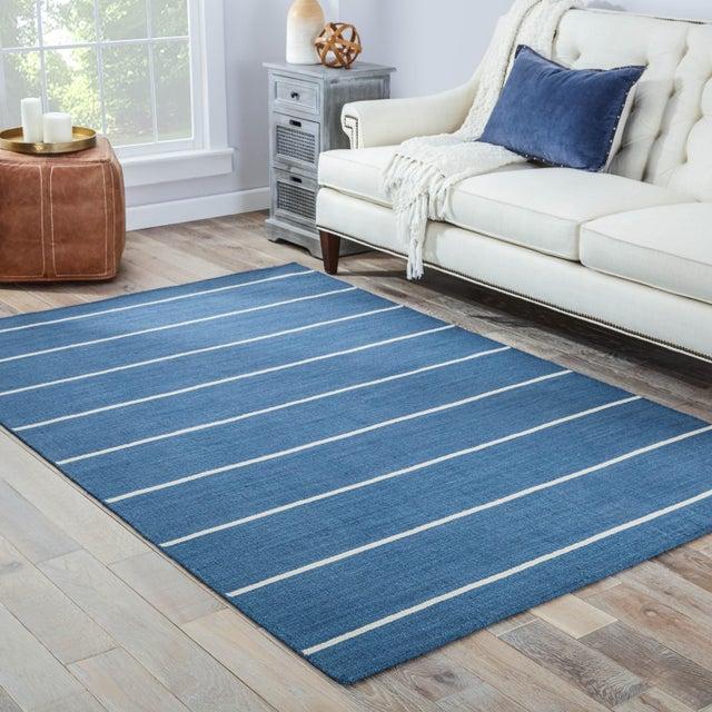 2010s Jaipur Living Cape Cod Handmade Striped Blue/ Cream Area Rug - 10′ × 14′ For Sale - Image 5 of 6