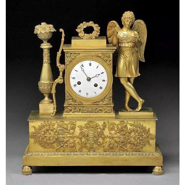 19th Century French Charles X Gilt Bronze Dore Figural Mantel Clock For Sale - Image 11 of 11