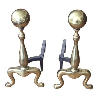Vintage Brass Cannonball Fireplace Andirons - a Pair For Sale