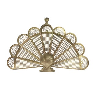 Brass Shell Folding Fan Fireplace Screen For Sale