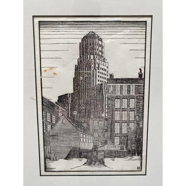 Architectural skyscraper wood cut in a fabulous Art Deco design framed in archival contemporary framing.