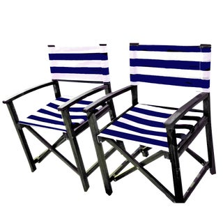 Modern Teak Director Style Folding Chairs- a Pair For Sale