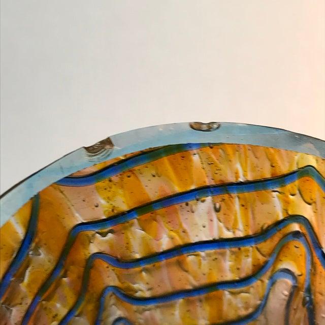 1910s Kralik Art Glass Blue Wave on Gold Vase For Sale - Image 5 of 6
