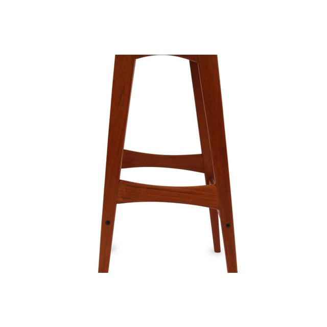 Animal Skin 1960s Johannes Andersen Teak and Leather Barstools - Set of 4 For Sale - Image 7 of 8