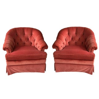 1980s Vintage Pink Velvet Club Chairs - A Pair For Sale