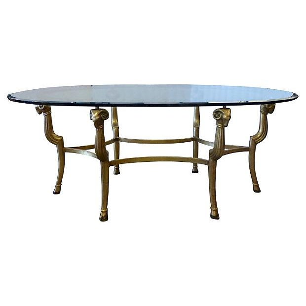 Gold Metal & Glass Oval Coffee Table - Image 1 of 4