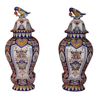 French Handpainted Ceramic Urns - A Pair For Sale