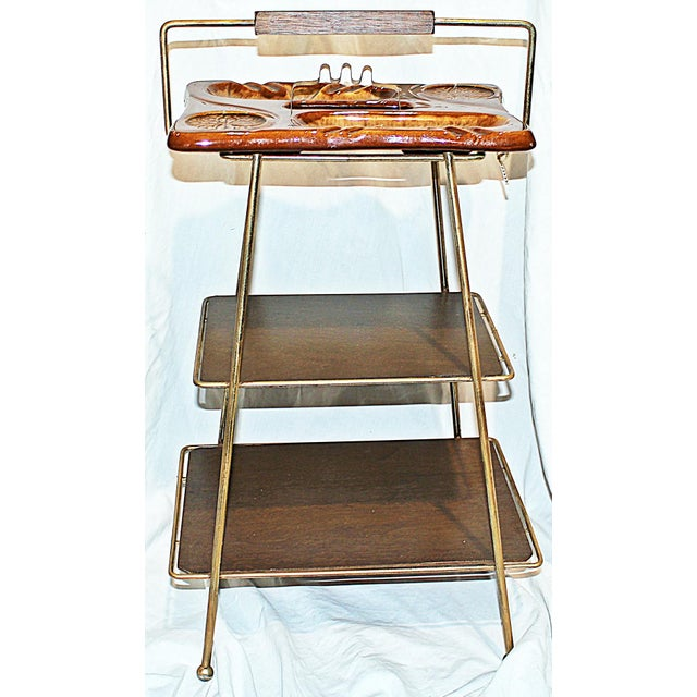 Mid-Century Modern Metal & Ceramic Smoking Stand - Image 7 of 8
