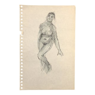 Female Nude Watercolor 1960s For Sale