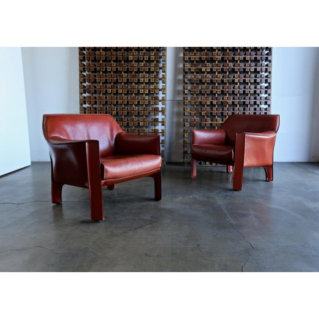 Mario Bellini for Cassina Large Cab Lounge Chairs - a Pair For Sale In Los Angeles - Image 6 of 13