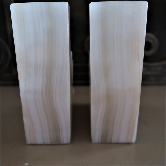 1950s Minimalist Onyx Agave Bookends - a Pair For Sale - Image 4 of 6