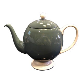 Mid-Century Modern Gray-Green With Cream Porcelain China Teapot For Sale