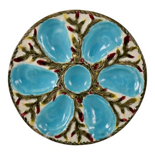 S. Fielding English Majolica Turquoise on White Shell & Seaweed Oyster Plate For Sale