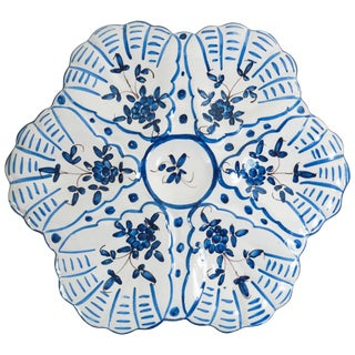 1940s French Faience Blue and White Oyster Plate