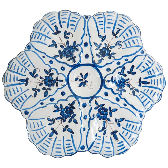 1940s French Faience Blue and White Oyster Plate For Sale