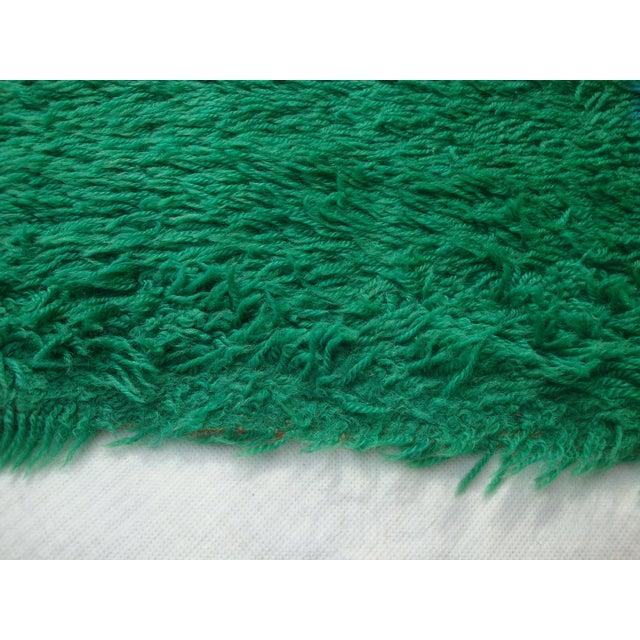 "Danish Modern Green Shag Rya Rug - 5'7"" x 7'11"" - Image 6 of 11"