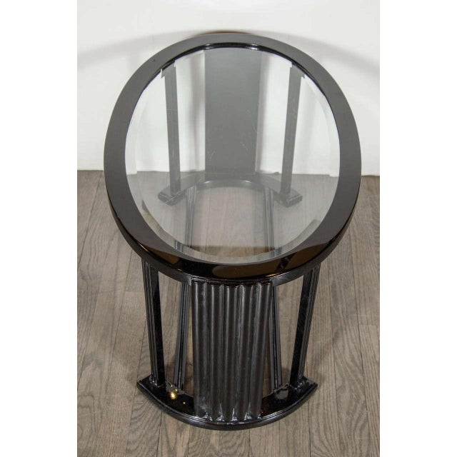 Lacquer Art Deco Bauhaus Style Cocktail or Occasional Table in Black Lacquer and Glass For Sale - Image 7 of 8