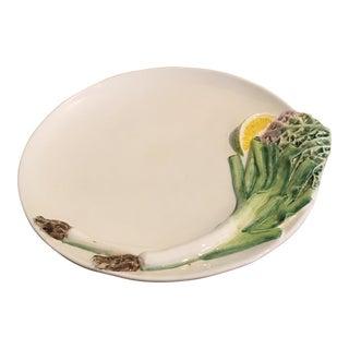 Vintage Italian Cabbage, Lemon, Chive Onion Motif Serving Plate For Sale