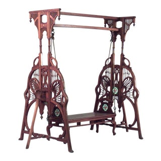 Art Nouveau Carved Teak Wood Filigree Swing For Sale