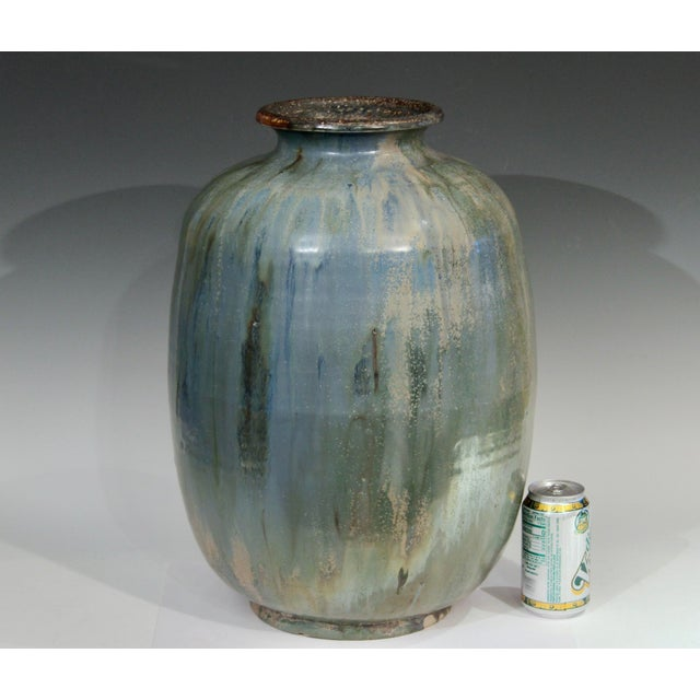 1930s Roger Guerin French Belgian Studio Art Pottery Crystalline Iridescent Glaze Vase For Sale - Image 10 of 11