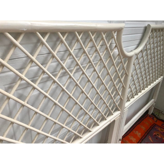 Vintage White Bamboo Rattan Latticed Pagoda Twin Headboards - a Pair For Sale - Image 4 of 7
