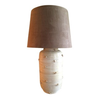 Knotted Rattan Lamp with Suede Shade